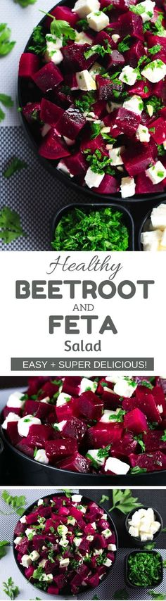 This salad has the perfect balance of sweet and salty from the beetroot and feta cheese - SO good! Super healthy and tastes even better! #beetroot #feta #cheese #salad #easyrecipes