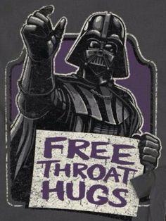 'Free Throat Hugs', with Love from Darth Vader, Star Wars Tshirt art. Illustration.