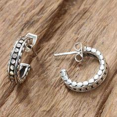 Sterling silver half-hoop earrings, 'Orbital Moon' -$44