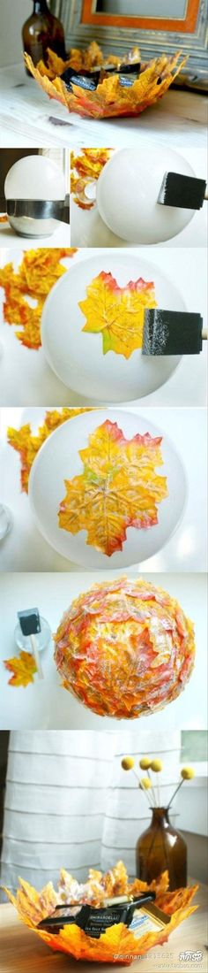 "Another fall leaf idea.  So much easier than the roses! LIZ  Link is from ""Dump-A-Day"" website. Link deadends there. Will try to locate original link so instructions are available. Will replace each of these ""D-A-D""  links as I find them"