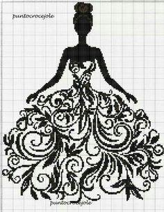 Fantastic dress Crochet C2c Pattern, Filet Crochet, Embroidery Fonts, Embroidery Patterns, Cross Stitching, Cross Stitch Embroidery, Cross Stitch Designs, Cross Stitch Patterns, Cross Stitch Beginner