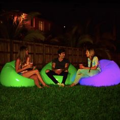 Illuminated LED Inflatable Chair – The Caveman's Guide Stock Pools, Inflatable Chair, Pool Rafts, Swimming Gear, Color Changing Lights, Pool Toys, Corporate Events, Outdoor Blanket, Backyard