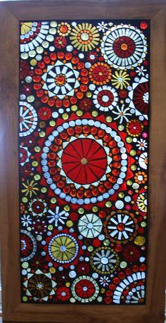 Mosaic Window Panel Beautiful reds golds and by lowlightcreations,