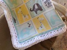 Nursery Blanket, Baby Blanket, Fleece Blanket, Crocheted Blanket, Crib Bedding, Elephant Blanket, Giraffe Blanket by Lorettescottage on Etsy
