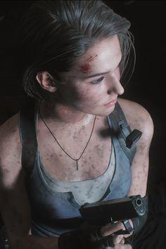 Upper close photograhy of Jill Valentine. Resident Evil Nemesis, Resident Evil Girl, Resident Evil 3 Remake, Valentine Resident Evil, Allen Walker, Jill Valentine, Cyberpunk Art, Video Game Characters, Video Game Art