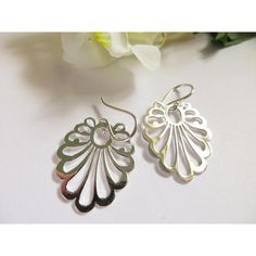 Sterling Silver Earrings, Cut Out Earrings, Silver Earrings, Fancy... ($29) ❤ liked on Polyvore featuring jewelry, earrings, silver earrings, earring jewelry, silver lace earrings, lace jewelry and cut out earrings