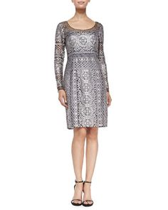 Long-Sleeve Horizon Lace Cocktail Dress by Kay Unger New York at Neiman Marcus.