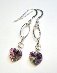 Swarovski Crystal Heart Earrings  Light Vitrail by designsbylaurie, $20.00
