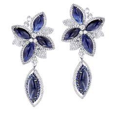Unique 18K Gold Ladies Designer Diamond Flower Earrings Blue Sapphires