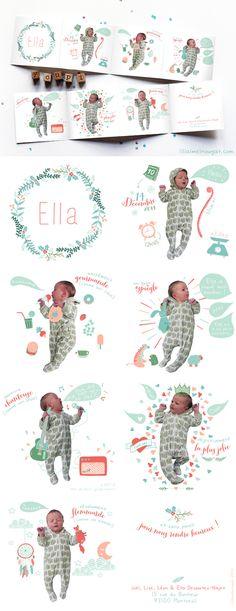 Faire-part de naissance d'Ella Des fleurs, des photos, de l'humour et de la tendresse.
