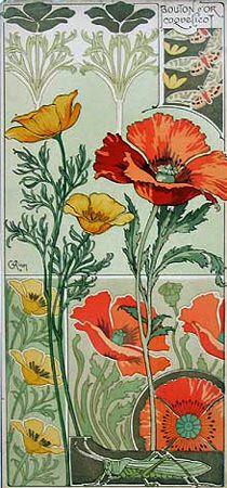 Riom Californian Poppy and Field Poppy ~ Art Nouveau illustration Fleurs Art Nouveau, Motifs Art Nouveau, Azulejos Art Nouveau, Design Art Nouveau, Art Nouveau Flowers, Art Nouveau Pattern, Art Nouveau Tiles, Art Design, Art Floral