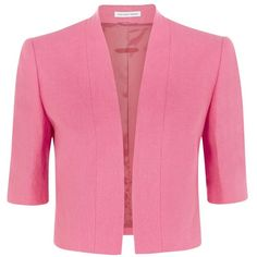Fenn Wright Manson Narcissus Linen Jacket, Pink ($98) ❤ liked on Polyvore featuring outerwear, jackets, 3/4 sleeve jacket, lined jacket, cropped jacket, linen jacket and pink jacket