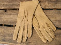 Vtg Deer Skin Gloves handmade natural buckskin by JewlsinBloom, $22.95
