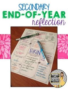 End of the Year Reflection Activity for secondary students! Because middle and high school students need to reflect and synthesize, too! $