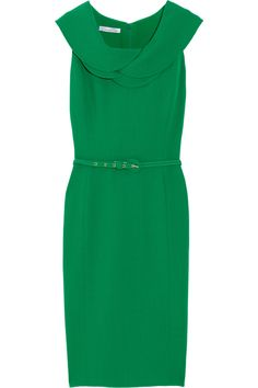 with pearls + pumps and you've got one classy look. love this shade of green. #dress