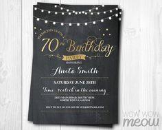 70th birthday invitation elegant party seventy invitation chalk 70th birthday invitation elegant party invitation by wowwowmeow filmwisefo Gallery