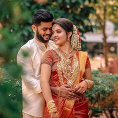 Bridal Hairstyle Indian Wedding, Indian Wedding Gowns, Indian Wedding Couple, Indian Bridal, Kerala Wedding Photography, Maternity Photography Poses, Wedding Couple Poses Photography, Couple Wedding Dress, Wedding Couples