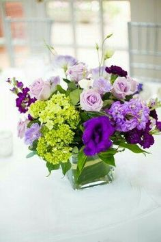green and purple wedding centerpieces Purple Wedding Centerpieces, Flower Centerpieces, Wedding Decorations, Purple Centerpiece, Centrepieces, Centerpiece Ideas, Table Centerpieces, Floral Wedding, Wedding Colors