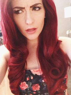 Pin up hair | Red hair | long hairstyles | wedding | formal | prom | curly | pin up | retro | pin curls | dark red | bright red | pin up makeup | wing eyeliner | red lipstick | eyelashes | redhead | eyebrows | thick hair | swirl