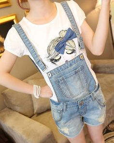 13.48$  Buy here - http://aliq0s.shopchina.info/1/go.php?t=1912948444 - Women Girls Casual Vintage Frayed ripped hole Wash Denim Overall Suspender Jean Pants Cute denim Shorts  #shopstyle