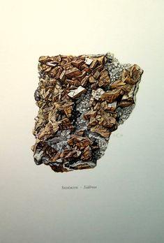 Alten SIDERIT Gravieren, 1967 Antik Farbe drucken Mineral, Kristall-Carbonat Geologie Mineralien Mineralogie Lithographie.