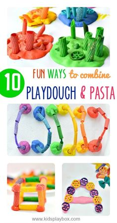10 fun ways to play with playdough and pasta! Great sensory activities for kids! Playdough Activities, Motor Activities, Infant Activities, Activities For Kids, Classroom Activities, Toddler Play, Toddler Preschool, Toddler Crafts, Kids Crafts