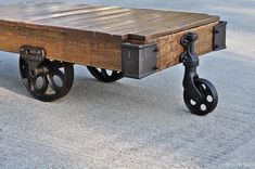 Vintage Industrial Factory Cart Coffee - Table In Stock - XL 60 x 30 x 14.5. $850.00, via Etsy.