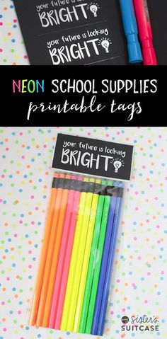 Back to School printable tags for school supplies! Cute gift for teacher or kids!