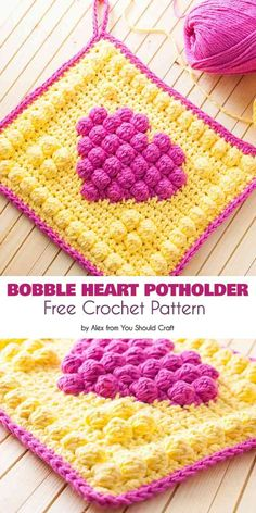 Crochet a sturdy, double-layered cotton potholder in a fun, bright bobble heart design! This project features the bobble stitch and includes a free crochet pattern and step-by-step photo-tutorial. Crochet Potholder Patterns, Bobble Crochet, Bag Crochet, Crochet Amigurumi, Bobble Stitch, Crochet Dishcloths, Crochet Squares, Crochet Home, Crochet Gifts