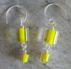 Yellow Cane Glass Dangle Earrings by visualriver on Etsy, $14.99