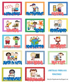 CARTELES RINCONES Más Badges, Class Decoration, Pre School, Second Grade, Early Childhood, Ideas Para, Kindergarten, Homeschool, Clip Art