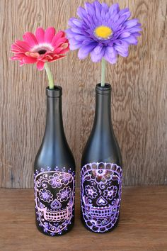 Sugar Skull Wine bottle Vase, Up Cycled, Day of the Dead