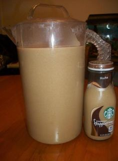 Actual recipe: Starbucks frappuccino:  10 cups fresh coffee + 1/2 cup of brown sugar + 1/2 cup of white sugar + 1/2 cup of French Vanilla Coffee Creamer... while coffee is brewing, combine brown sugar and white sugar in a pitcher; pour hot coffee directly into pitcher so the sugar dissolves, then stir; add creamer and stir again; refrigerate overnight