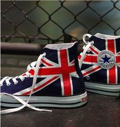 UK Flag Union Jack Converse Sneakers Hand by EmilyTamHandPainting, $90.00 Stars on the other side for Australia or New Zealand