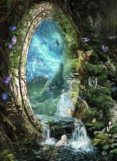 behind the magic mirror... there was the land of myth and legends where fair folk and dragons along with the phoenix and the unicorn live in peace and harmony.... Fantastasia!!!