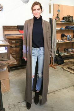 Celebrity Style Tips - Today's Style Secret - Long Coat and Ripped Blue Jeans | Harper's BAZAAR