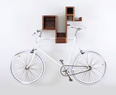 Amazing space-saving bike storage ideas home for small room and apartments. These indoor bike storage solutions are for pedal pushers who can't part with their bike. Indoor Bike Rack, Indoor Bike Storage, Bicycle Storage, Bike Storage Cabinet, Book Storage, Storage Ideas, Storage Units, Bespoke Furniture, Furniture Design