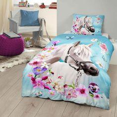 Good Morning Bettwäsche My Beauty in reiner Baumwolle. Ein Muss für alle Pferdefans ist die florale, romantische Garnitur. Blüten und Schmetterlinge umrahmen ein weißes Pferd. Die weiche Bettwäsche ist ein tolles Geschenk. #bettwäsche #sleep #kids #bedding #bedlinen #kinder #schlaf #kinderzimmer #pferde #horse #girls www.bettwaren-shop.de
