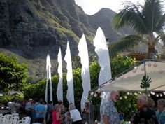 Another Hawaiian wedding with Wind Visuals Feather Banners highlighting the event. Wedding Flags, Wedding Reception, Outdoor Weddings, Wedding Vendors, Wedding Engagement, Banners, Hawaiian, Feather, Patio