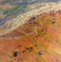 """""""beach1"""" - This piece measures 6"""" x 6"""" and is created mostly from hand-dyed cotton fabric, merino wool, and silk with machine embroidery and beading. - Exquisite Textile Art by Helen Suzanne"""