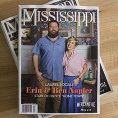 Erin & Ben are thrilled to be the featured locals of the March/ April Issue of Mississippi Magazine. In celebration of their appearance at the Mercantile Market in May, Erin and Ben share are details about their life and Laurel Mercantile Co. Home Town Hgtv, Erin Napier, Small Town America, Steel Magnolias, American Manufacturing, Small Towns, Mississippi, Books To Read, Tv Shows