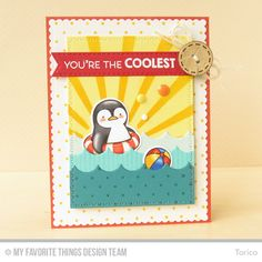 Penguins in Paradise stamp set and Die-namics, Pinstripe Background, Swiss Dots Background, Stitched Scallop Edges Die-namics, Zig Zag Stitched Rectangle STAX Die-namics, Sun Ray Stencil - Torico #mftstamps