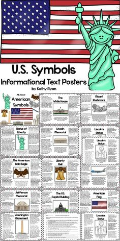 """Your students will love learning interesting facts and the history behind 12 of America's most iconic symbols with these American Symbols Informational Text Posters. Color and b/w copies are included for your printing needs. May be used as an """"Around the Room"""" activity when completing the enclosed scavenger hunt. They can also be printed as a coloring book."""
