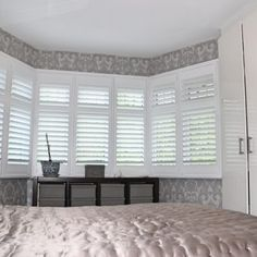 Hardwood Plantation shutters with a hidden tilt on a three sided bay window Bay Window Shutters, Bedroom Shutters, Interior Shutters, Wooden Shutters, Motorized Blinds, Best Interior Design Websites, Made To Measure Blinds, Fashion Room, Valance Curtains