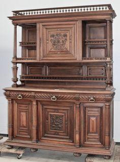 Antique French Henri II Walnut China Buffet | China/Deux Corps | Inessa Stewart's Antiques