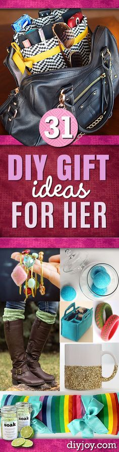 DIY Gifts for Her - Perfect Homemade Gift Ideas for Girlfriend, Mom, Sister, Aunt, Wife, BFF. Easy Inexpensive and Cool Crafts You Can Make To Give For Christmas, Birthday Gift, Anniversary