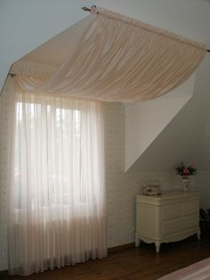 Roof Window, Window Curtains, Farmhouse Window Treatments, Curtain Designs, Bedroom Wall, Home Remodeling, My House, Blinds, New Homes