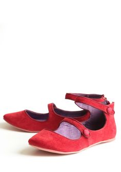Corduroy Mary Jane Flats In Crimson By Blowfish | Modern Vintage Shoes
