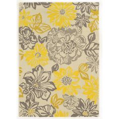 Trio Collection Floral Grey/ Yellow Area Rug (2' x 3') | Overstock.com Shopping - Great Deals on Accent Rugs