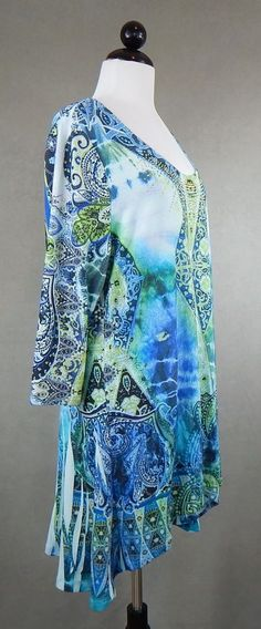 ONE WORLD Blue Green Sublimation Embellished Hi Low Knit Top Plus Size 2X #OneWorld #KnitTop #Casual